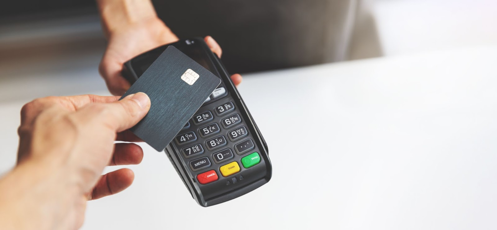 A contactless credit card reader for small businesses, a service offered by Adept Payments.